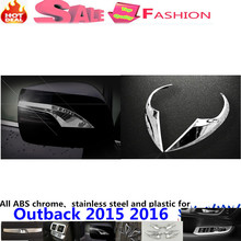 Car ABS chrome body chrome back rear view Rearview Side Mirror Strip Cover sticks trim hoods 2pcs For Subal6u Outback 2015 2016