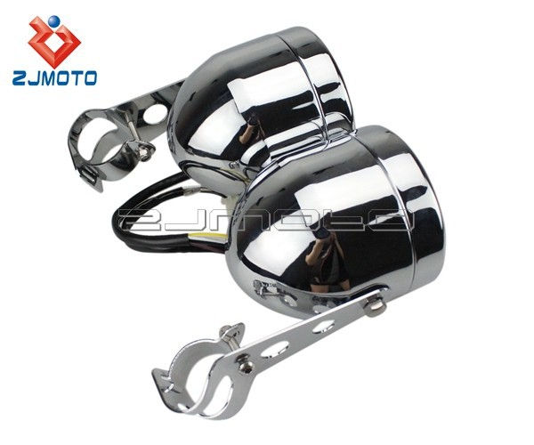 Универсальный хром Доминатор двойная фара мотоцикл двойной налобный фонарь для Honda Yamaha Suzuki Kawasaki Streetfighter Кафе Racer