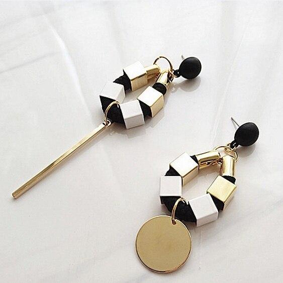 2016 Корейской Моды Металл Стиль Личности Преувеличивать Асимметричная Длинные Серьги Букле D'Oreille Brincos Для Женщин