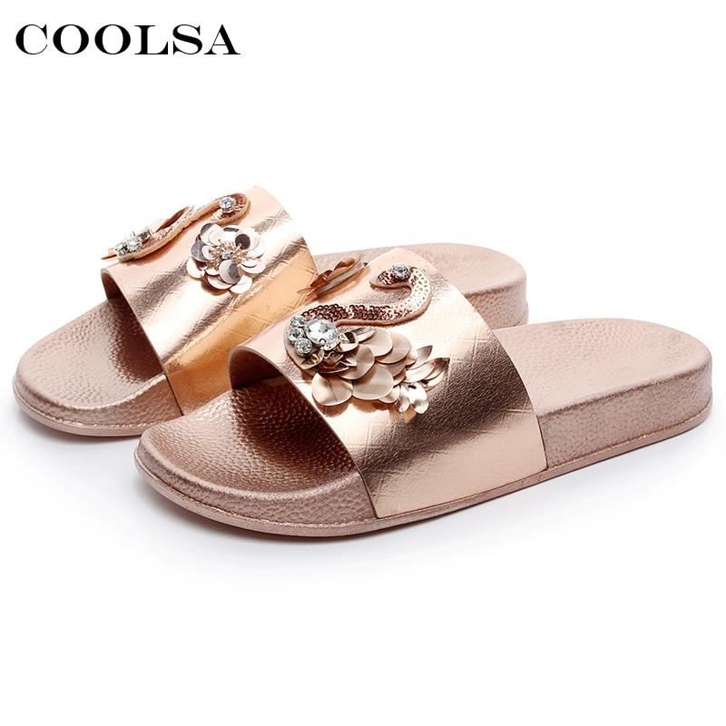 Coolsa New Summer Women Bling Slippers Rhinestone Flowers Beach Sandals Flamingo Flat Lady Slides Home Flip flops Casual Shoes