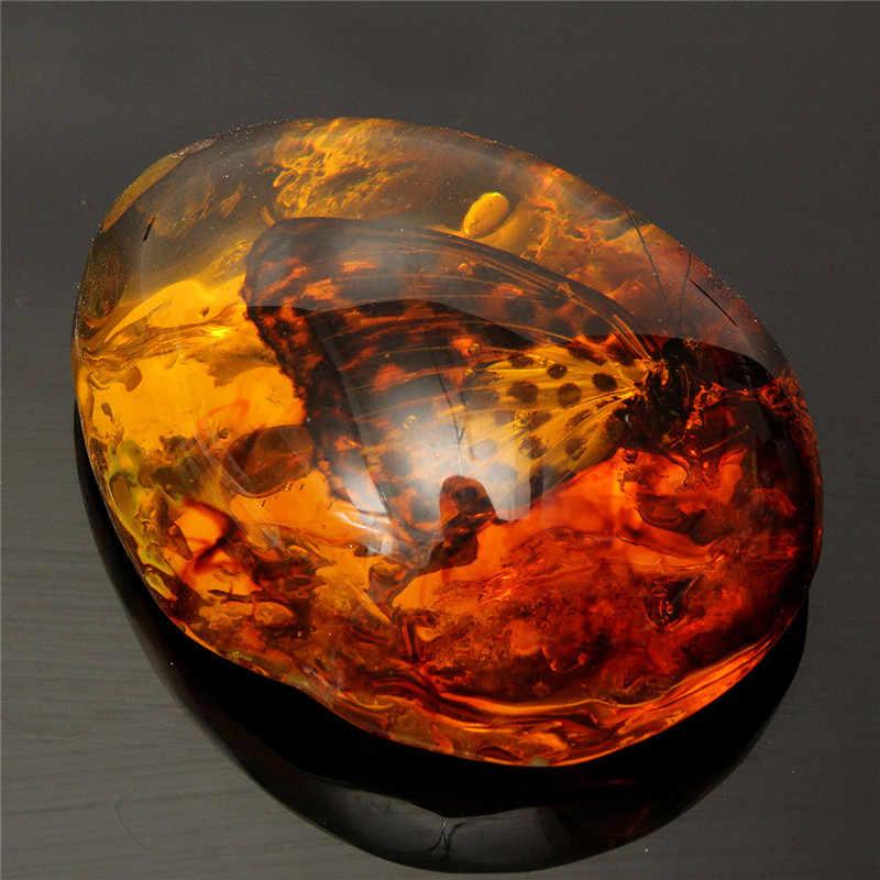 5*4 cm piękny Amber Butterfly owady kamień naszyjnik kamień do DIY biżuteria wisiorek rzemiosło