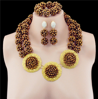 African Costume18K Gold Plated Disc Crystal Wedding Women Bridal Accessories Nigerian Dubai African Beads Jewelry Sets