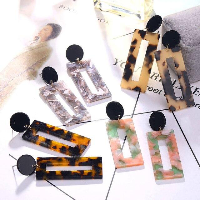 Pendientes colgantes geométricos de moda para mujer pendientes de leopardo pendientes acrílicos pendientes de resina al por mayor brincos