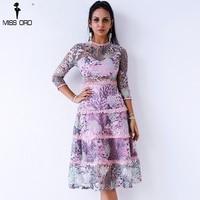 Missord 2018 Women Sexy O Neck Embroidery Dresses Female See Through Mesh Female Elegant Dress FT9348