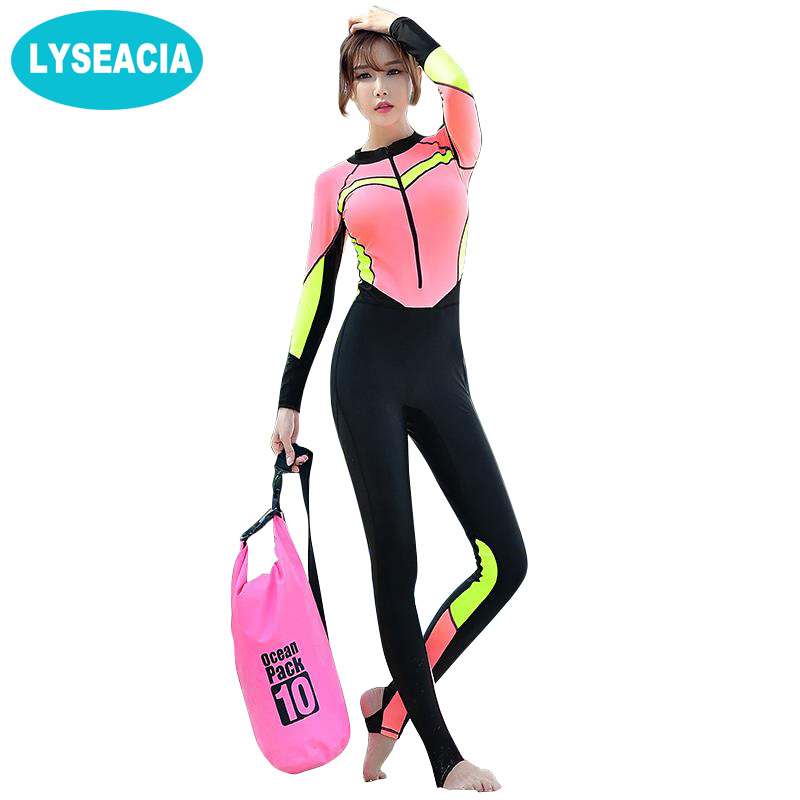 LYSEACIA Long Wetsuit Women's Rash Guards Swimming Suit One Piece Swimsuit Rashguard Nylon Swimwear Women Surfing Diving Suits high quality zipper long sleeve women swimsuit round collar sexy one pieces swimwear girl wetsuit diving swimming suit
