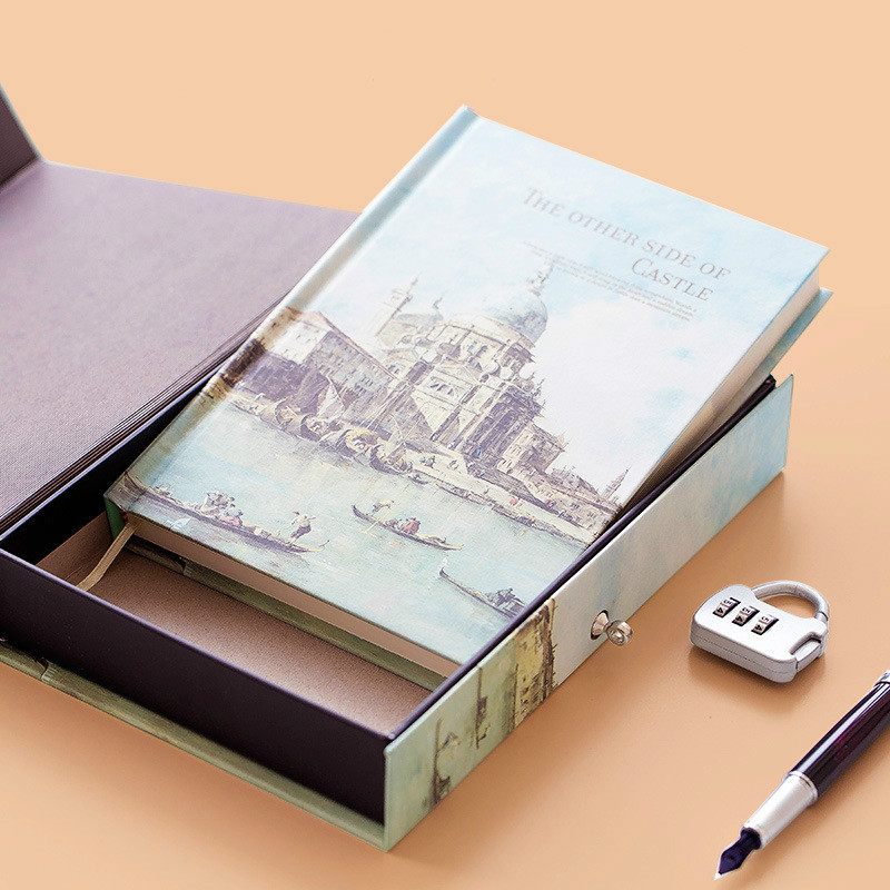 Password book with lock Korean creative color page illustration thickened small fresh notebook notepad love diary school