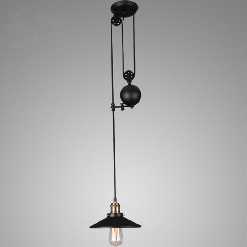 LuKLoy Pendant Lights Lamp, Industrial Pulley Adjustable Wire Retractable Pendant Lamp Light For Cafe Shop Restaurant Loft