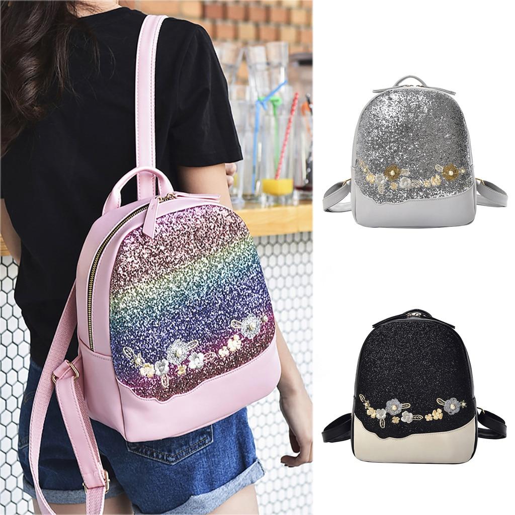 Girls Sequins Backpack Glitter Bling School Travel Rucksack Handbag Shoulder Bag
