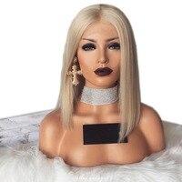 Eversilky 60 Цвет блондинка парик короткий боб полный шнурок натуральные волосы парики для Для женщин прямые волосы парик блондинка бразильский