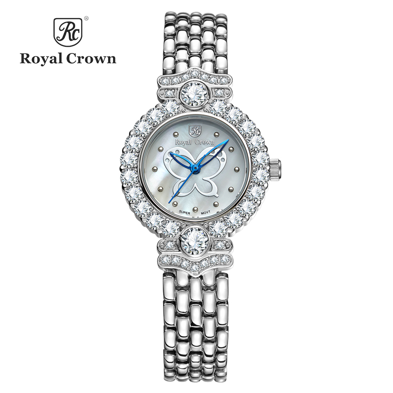 Royal Crown Lady Women's Watch Japan Quartz Hours Fashion Bracelet Butterfly Shell Luxury Rhinestones Bling Crystal Clock Gift цена
