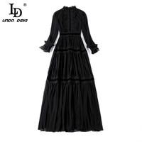 Женское платье с кружевом LD LINDA DELLA, длинное черное платье с длинным рукавом, платье в стиле пэчворк, платье с рюшами, праздничное платье 2019 5