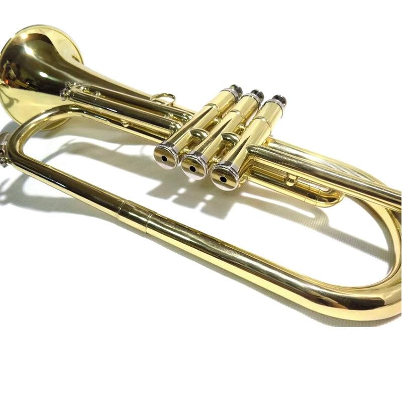 Bb Flugelhorn Yellow Brass Flugel Horn with Wood Case Musical Instruments Professional in Flugelhorn from Sports Entertainment