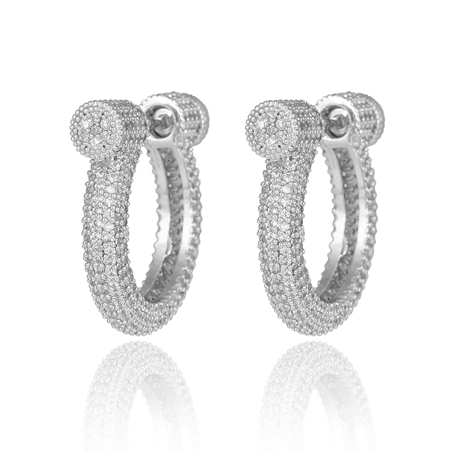 Fashion Cool Girls Platinum Plated 2 in 1 Round Prong-Set Cubic Zirconia Screw Back Hoop Earrings Clear