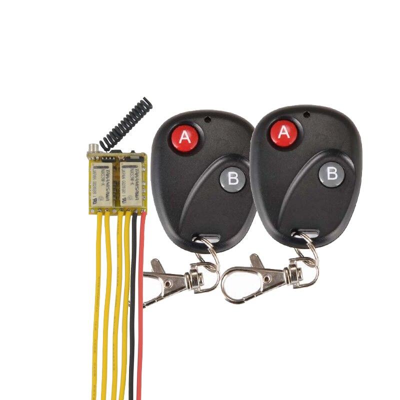 DC 3.7V 4.5V 5V 7.4V 9V 12V Mini Size 2CH Relay Remote Switch Micro Wireless Switch NO COM NC Relay Receiver Transmitter Contact dc 3 5v 12v mini relay switch 2 receiver transmitter
