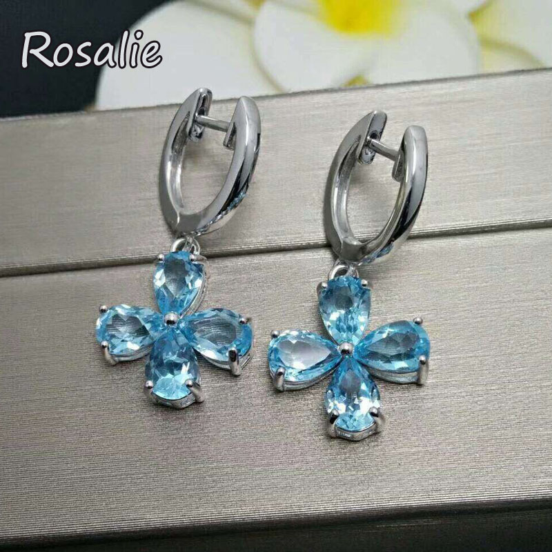 Rosalie,100% natural 4ct Brazil blue topaz natural gemstone clasp earring in 925 sterling silver for girls with jewelry gift box rosalie natural loose gemstone brazil real sky blue topaz oval 6 8mm 3 pc 4 5ct in one lot gemstone for silver jewelry mounting
