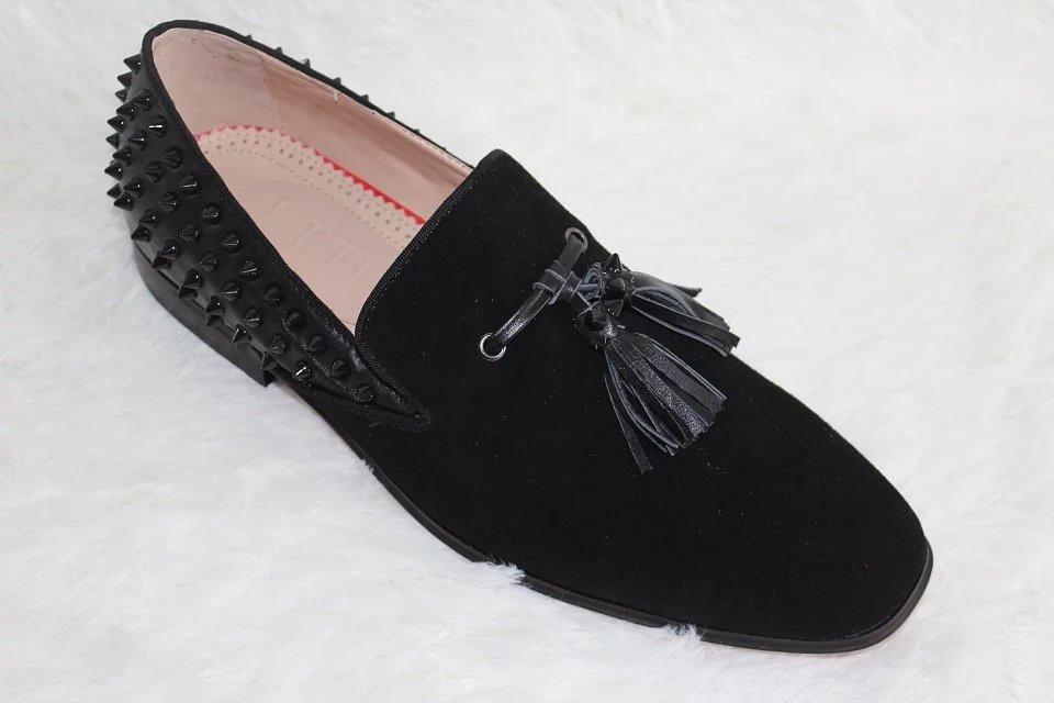 LTTL Rivets Men font b Shoes b font Handmade Chaussure Homme Luxury Mens Tassel Loafers Black