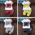 Summer Tracksuit Children Cotton Stripe Clothing Sets Baby Boys Five-pointed Star Clothes Sets Kids T-shirt +shorts 2pcs Suit