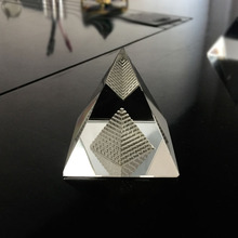 Quartz Crystal Glass Hollow Egypt Pyramid Paperweight  Fengshui Figurine Wicca Crafts Home Wedding Office Decor Ornaments
