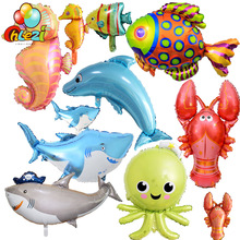 Globos de peces y animales grandes para fiesta de cumpleaños, tiburón langosta, pulpo, juguetes inflables, decoraciones de fiesta temáticas, juguete para niños, 1 Uds.