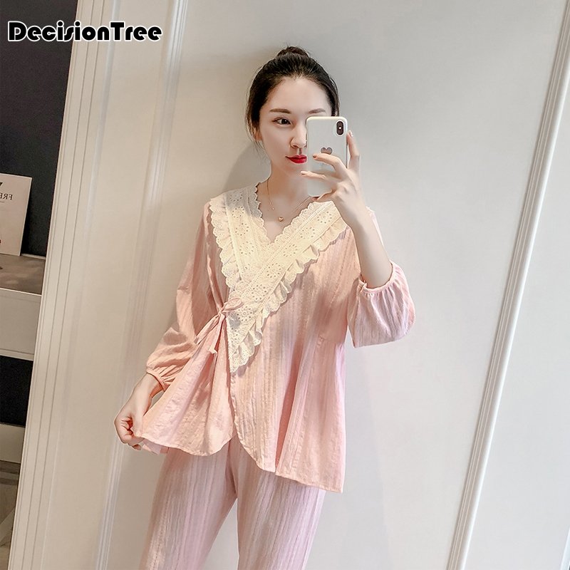 Japanese Pajama Sets Women Pyjamas Kimono Sleepwear Female Comfortable Clothes Leisure Two Pieces Home Clothes