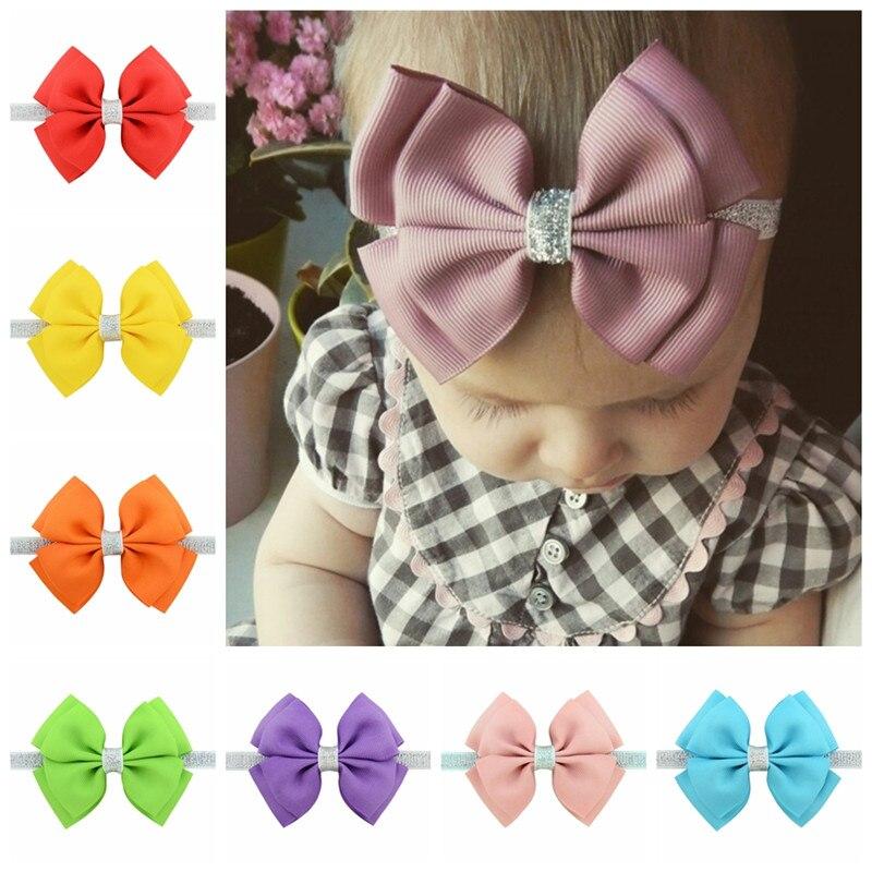 Newborn Baby Kids Small Ribbon Bow Tie Headband Bowknot Silver Band Elastic Hairbands Headwrap Hair Accessories Girls Head Bands