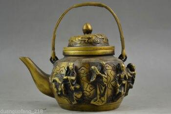 Rare Old Handwork Copper Carving Lifelike 8 Immortal Auspicious Usable Tea Pot