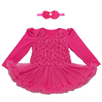 2PCs Per Set Pink Grey Purple Red Complex Lace Rose Baby Girls Tutu Dress Long Sleeves