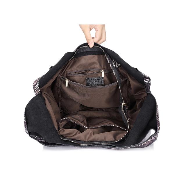 REALER brand genuine leather handbags women large tote bag classic serpentine prints leather shoulder bags ladies handbags