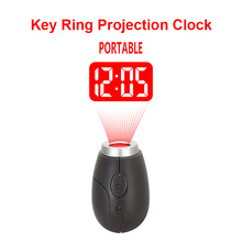 Household Digital Key Ring projection clock LED Portable Mini Clocks Electronic Decor Pocket Magic Laser Ceiling Projector Watch