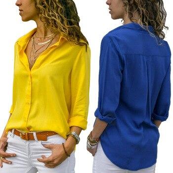 Soild Women Shirt 2019 Spring Autumn Casual Chiffon Blouse Long Sleeve Deep V Neck Button Office Work Wears Top Plus Size S-XXXL 4