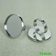 16mm New Perak Disepuh Kuningan Putaran Bantalan Adjustable Cincin Basis Kosong Pengaturan Bezel(China)