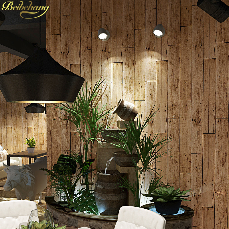 Beibehang PVC Wood Wallpaper For Walls 3d Roll Vinyl Flooring Mural Wallpaper Living Room Kitchen Bathroom Waterproof Wall Paper