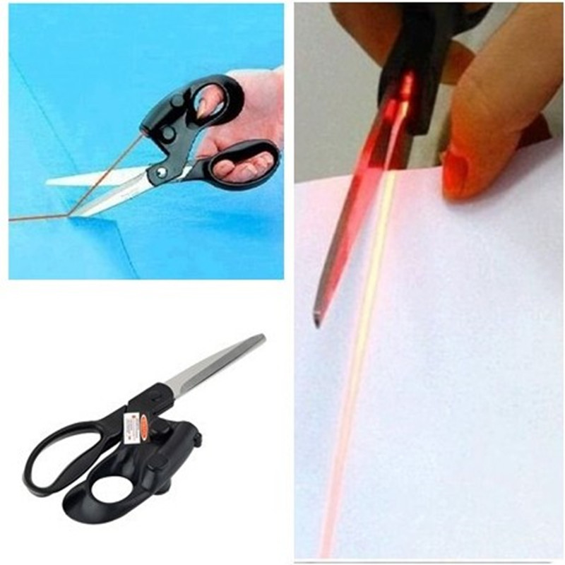 1ps Professional Laser Guided Scissors For Home Crafts Wrapping Gifts Fabric Sewing Cut Straight Fast With Battery