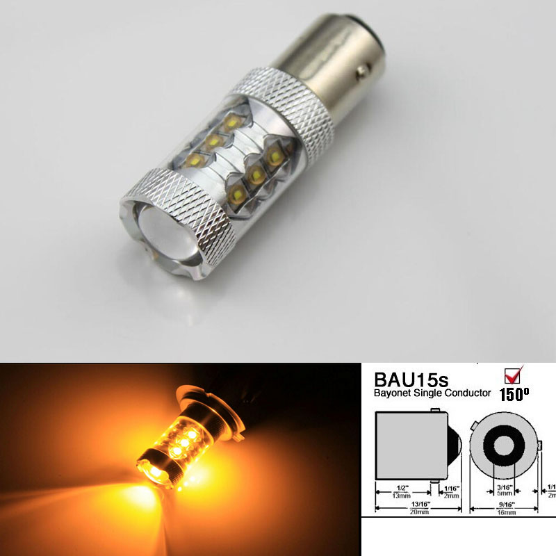 2шт/лот 80 Вт Bau15s 7507 PY21W высокой мощности Cree чипов светодиодные сигнала поворота света Лампа Белый Янтарь