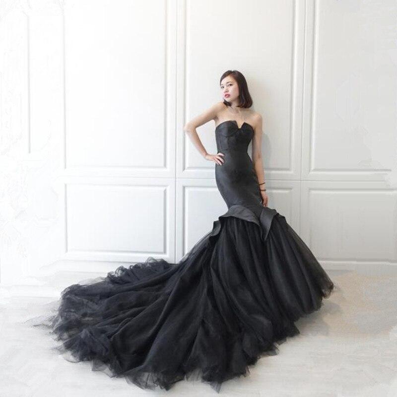 Katristsis d Robe de festa Sexy noir Sirène Tulle Robe de Soirée V-cou Élégant Robes De Soirée Robe De Soirée 2018