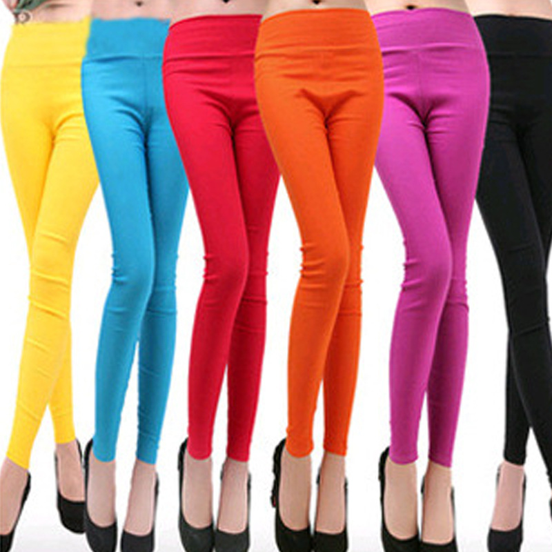 Low-priced on sale 2018 Spring and Autumn Style candy color Women leggings Plus size 4XL Elastic Waist womens pants