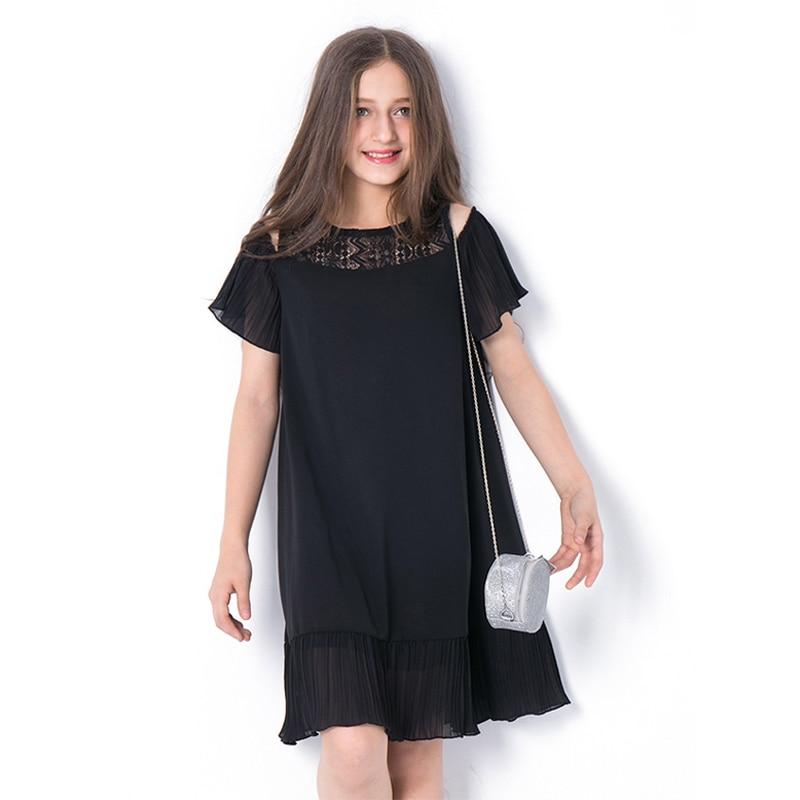 Tween Girl Fashion Black: Elegant Teenage Girls Clothing Off Shoulder Black Chiffon
