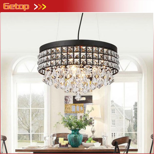 Retro American Round Crystal Pendant Light for Living room Restaurant Black Pendant Lamp with Crystal Drops Lighting FixturesRetro American Round Crystal Pendant Light for Living room Restaurant Black Pendant Lamp with Crystal Drops Lighting Fixtures