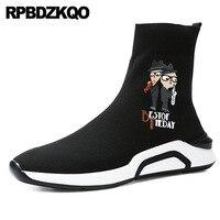 Men Booties Boots Ankle Flat 2018 High Top Trainer Faux Fur Shoes Winter Platform Sneakers Sock Black Pattern Casual Designer