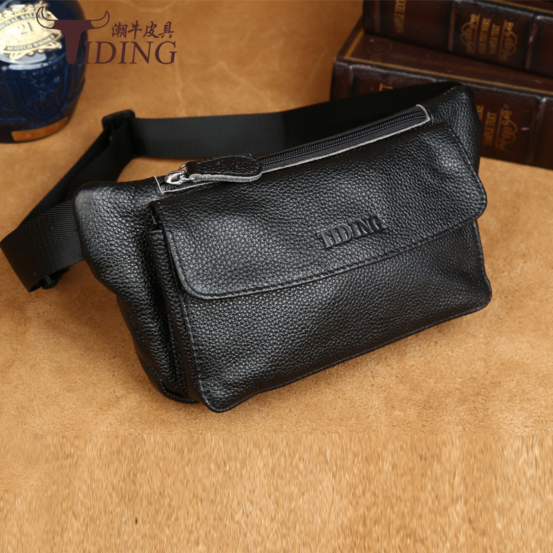 Genuine Cow Leather TIDING Men Waist Bag Retro Shoulder Bag Cowhide Leather Crossbody Bag Fanny Pack Hip Pouch Bag 2017 New combo sale mimco mim duo hip bag polished cow black leather shiny gold supernatural medium pouch super natural mim pouch