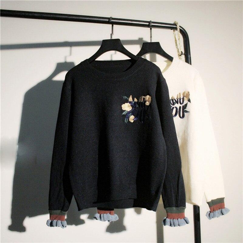 Corea negro bordado de flores suéter femenino elástico flare suelta camisa de ma