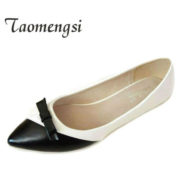 1a7b327e416c4a Mode Point Toe chaussures femme 2019 grande taille 42 43 femmes  appartements PU cuir noir chaussures