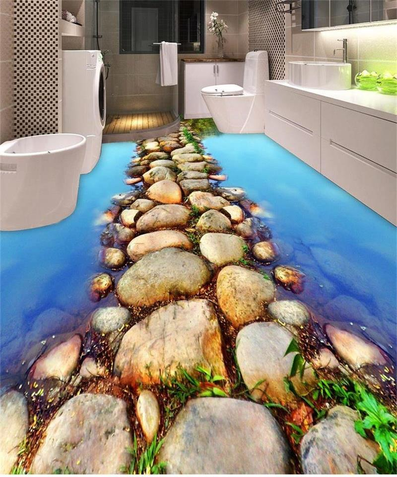 ФОТО custom mural 3d photo flooring wallpaper WC room beautiful water slate path 3d painting PVC wallpaper self-adhesive floor mural