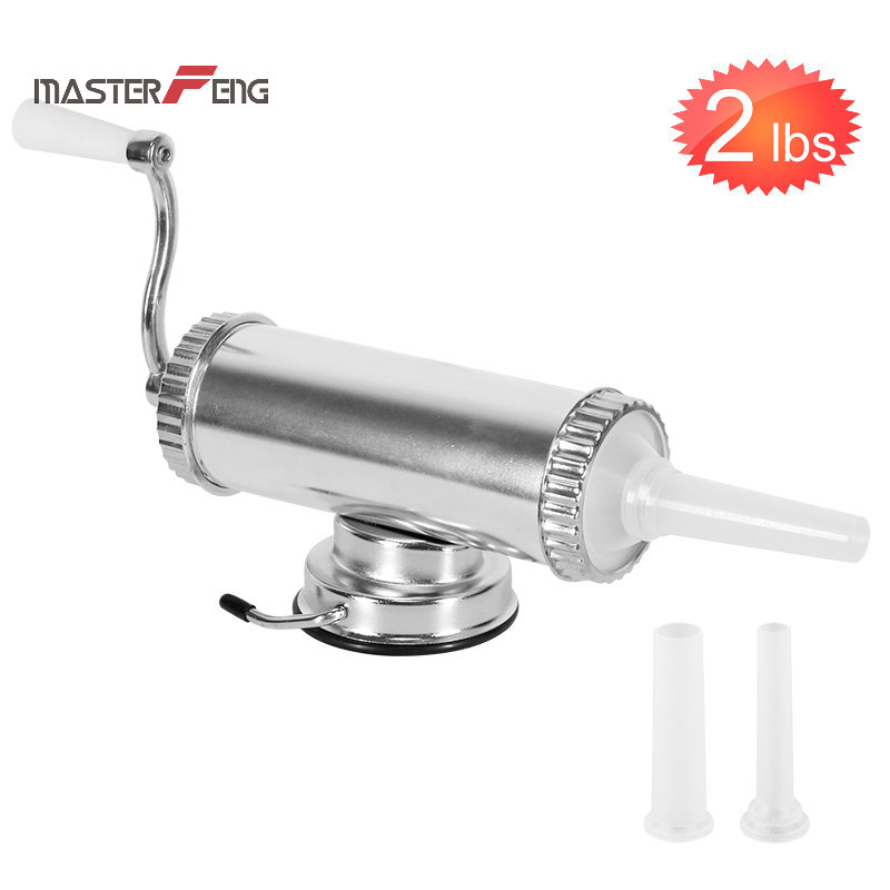 1KG / 2LBS Sausage Stuffer With Suction Base Homemade Sausage Filler Sausage Syringe Aluminum Manual Sausage Maker