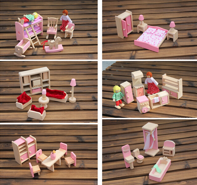 Funny Kids Pretend Role Wooden Toy Dollhouse Nursery Room Dining Living Romm Miniature Furniture