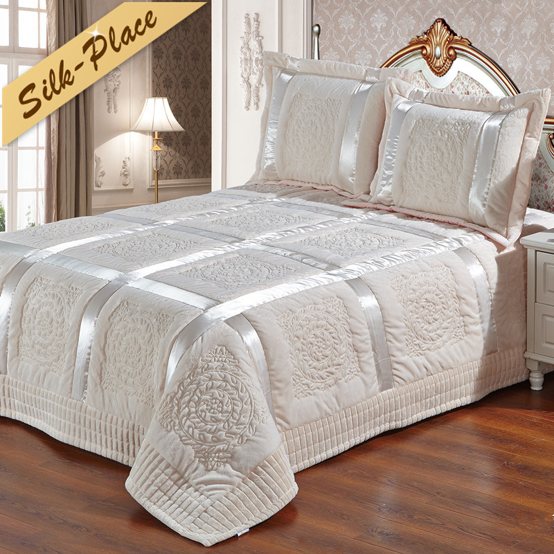 SILK PLACE 3 Pieces/Set 100% Cotton Solid Quilted Bedspread Set Gray Quality Bed Sheet Cover Sets Pillowcase 220*240cm Hot Sale