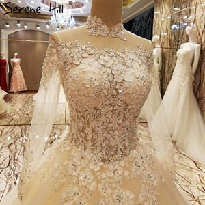 Image 4 - فساتين زفاف مثيرة بالدانتيل 2020 مزينة بالترتر الشامبانيا فساتين زفاف للعروس Vestido De Noiva صورة حقيقية