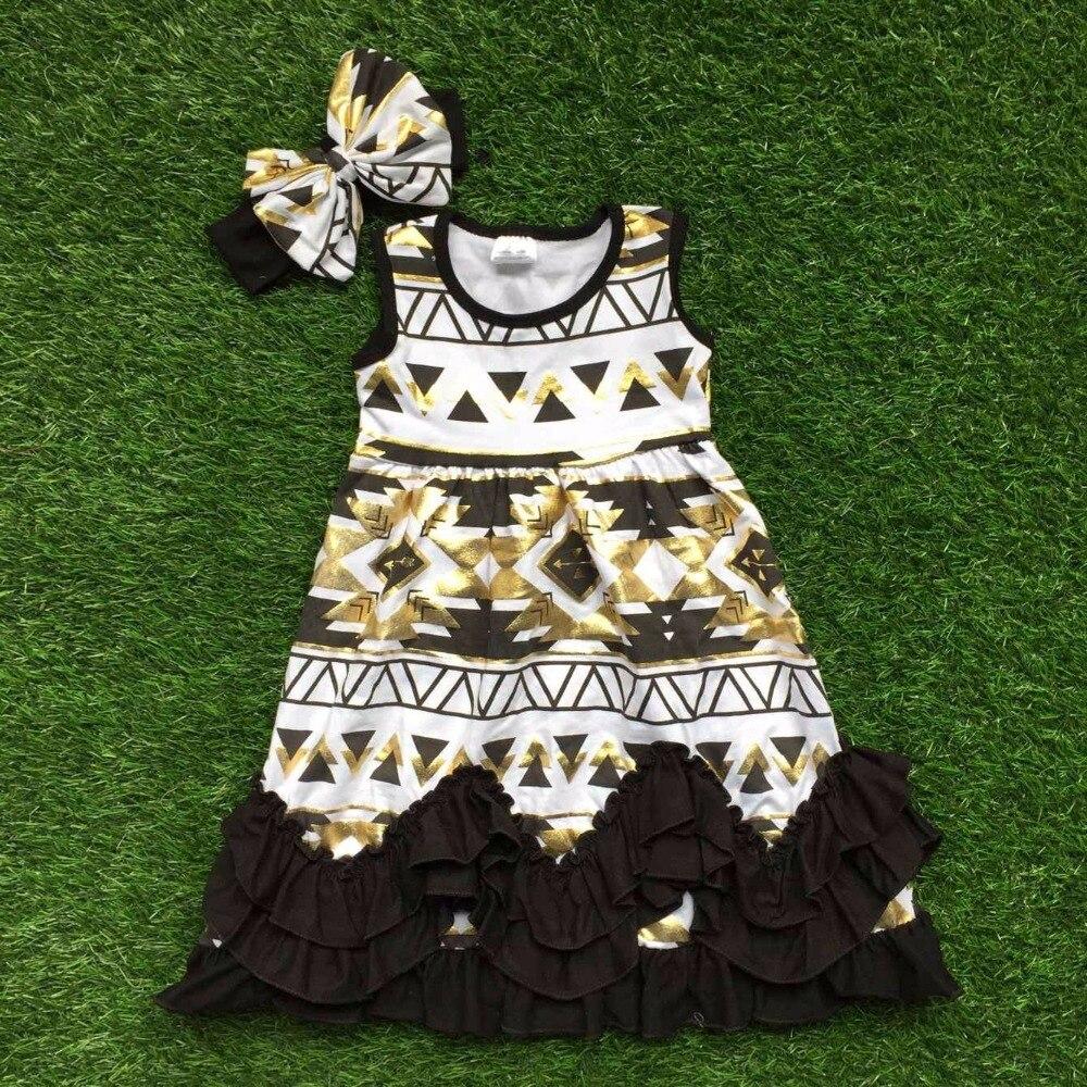 2016 free shipping summer new baby girls dress boutique sleeveless black gold az