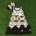 2016 free shipping summer new baby girls dress boutique sleeveless black gold aztec ruffle dress with matching bow