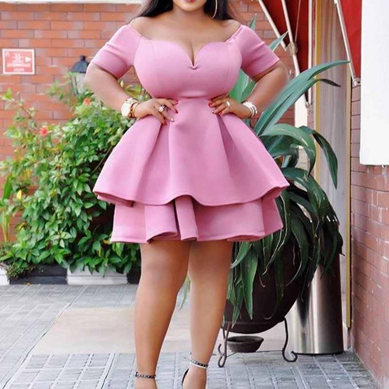 Большие размеры вечерние винтажные розовые сексуальные Клубные женские мини платья в африканском стиле Falbala Ретро женские элегантные оборки Большие размеры платье 2019